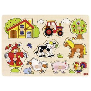 Spielzeug Goki Holz Steckpuzzle Bauernhof Vi 8 Tlg Holzspielzeug 57995 30x21x2,4cm Puzzle Neu & Ovp Exzellente QualitäT