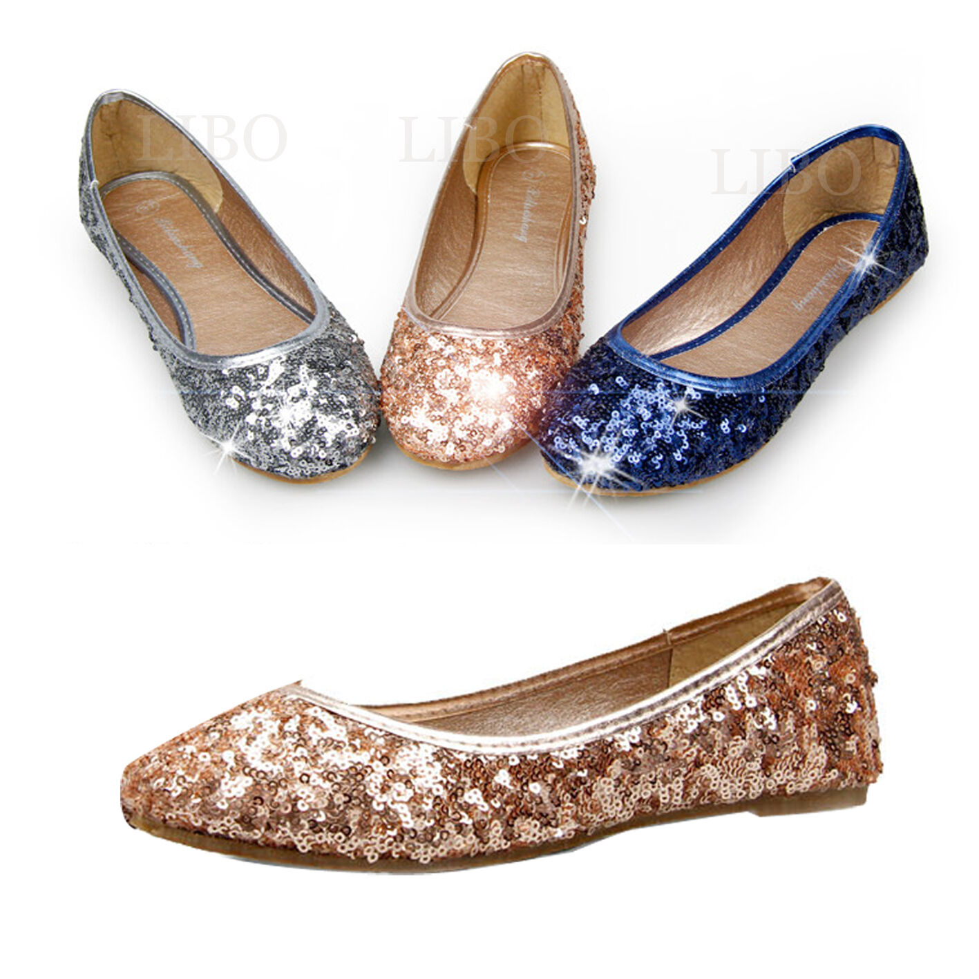 lot comfort toe casual flat loafer sequins