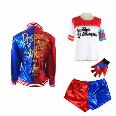 Kids Girls Cosplay Costume Suicide Squad Harley Quinn Halloween Fancy//Costume//UK