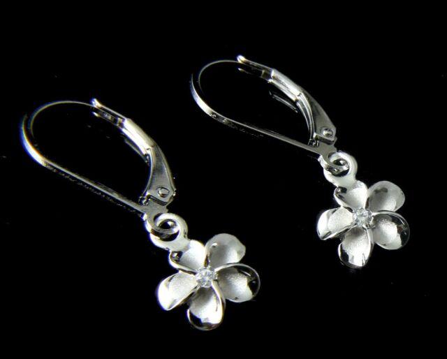 8MM STERLING SILVER 925 HAWAIIAN PLUMERIA FLOWER LEVERBACK EARRINGS RHODIUM