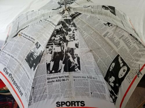 Vintage The Oregonian Newspaper Print Umbrella Ful