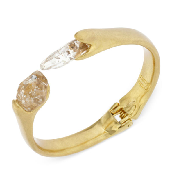 NWT ROBERT LEE MORRIS Soho Ice Queen Resin Clear Stone Hinged Cuff Bracelet