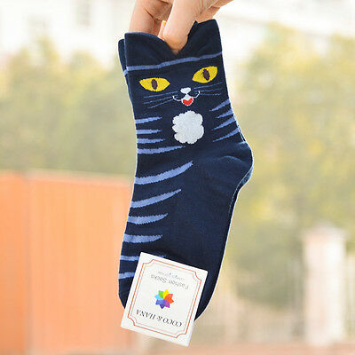 3D Animals Striped Cartoon Socks Women Girl Cat Footprints Cotton Ankle Socks