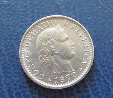 Münze 20 Rappen Schweizer Franken 1970 aus Umlauf gültiges Zahlungsmittel