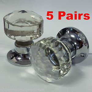 Glass Mortice Door Knobs Crystal Cut Handles Chrome Plated Backplate ...