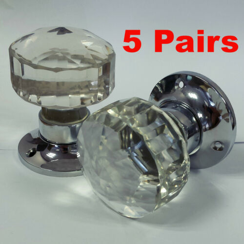 5 Pairs Glass Mortice Door Knobs Crystal Cut Handles Chrome Plated Backplate