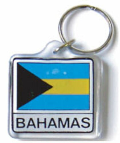 BAHAMAS DOUBLESIDED FLAG KEYCHAIN WITH RING FREE SHIPPING NEW