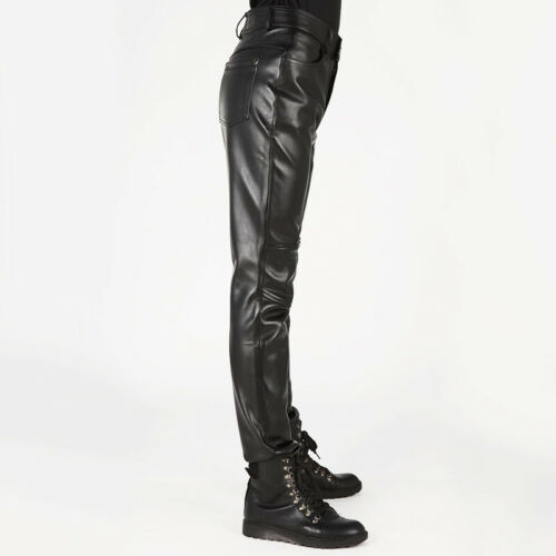 Mens Faux Leather Motorcycle Biker Trousers Slim Fitted Fashion Punk Rock Pants
