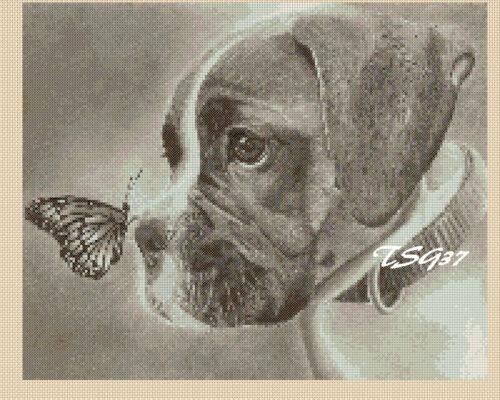 Puppy /& Butterfly bw4 TSG37 no Cross Stitch Chart