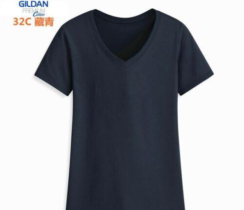 GILDAN Ladies Ultra Cotton T Shirt Da Donna Tee V-Collo a Maniche Corte