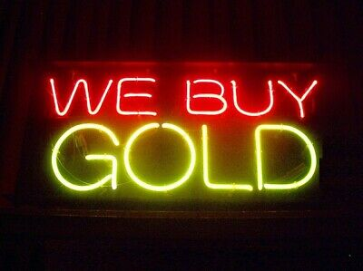 """New We Buy Gold Real Glass Beer Bar Neon Light Sign 17/""""x14/"""""""