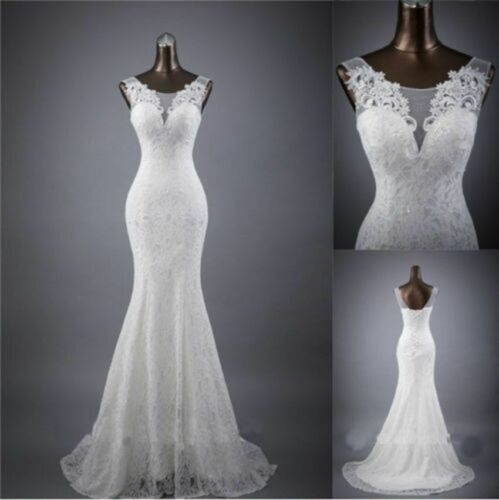 Hot New White Ivory Lace Mermaid Wedding Dress Bridal Ball Gown Size