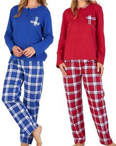 e88e2aea1015e Chargement de l'image en cours Femmes-Slenderella-Coton-Ecossais-Pyjama-Uni- Haut-Jersey-