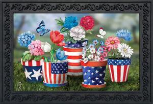 """Butterflies And Poppies Spring Doormat Floral Indoor Outdoor 18/"""" x 30/"""""""