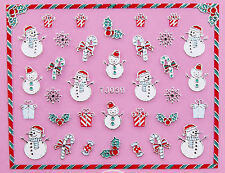 Christmas SILVER Snowflake Snowman Candy Cane Holly 3D Nail Art Sticker Decal