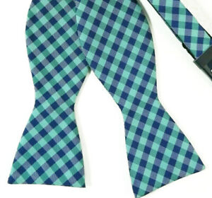 Green-Navy-Blue-Gingham-Plaid-Check-Bow-Tie-Self-Tie-Bowtie
