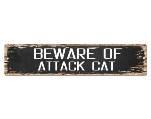 SP0426 Beware of ATTACK CAT Sign Bar Store Shop Pub Cafe Home Chic Decor Gift