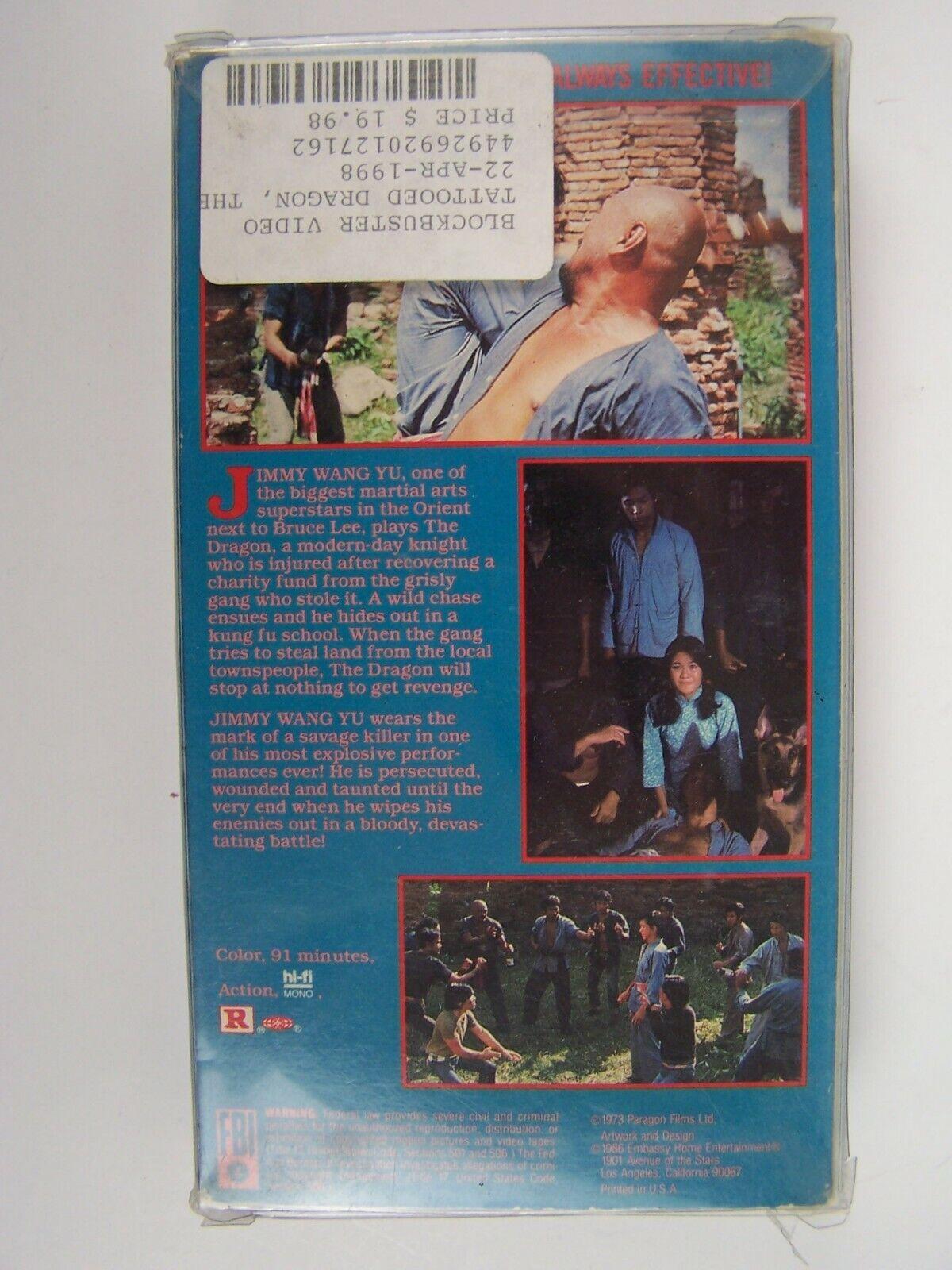 The Tattooed Dragon Jimmy Wang Yu VHS Video Tape RARE!