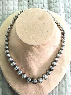 Tiffany Co Graduated Ball Bead Necklace Sterling Silver W Bag 17 5 Ebay