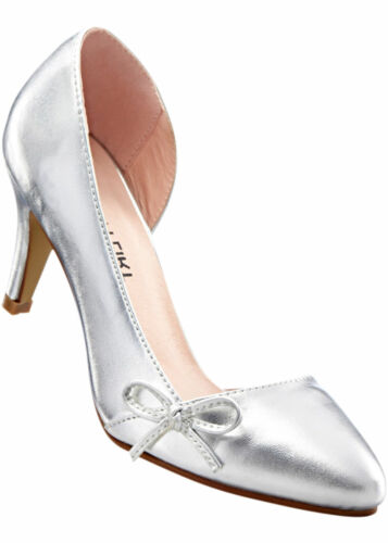 Elegante Damen Pumps Gr 40 silber Stiletto mit Cut-Outs