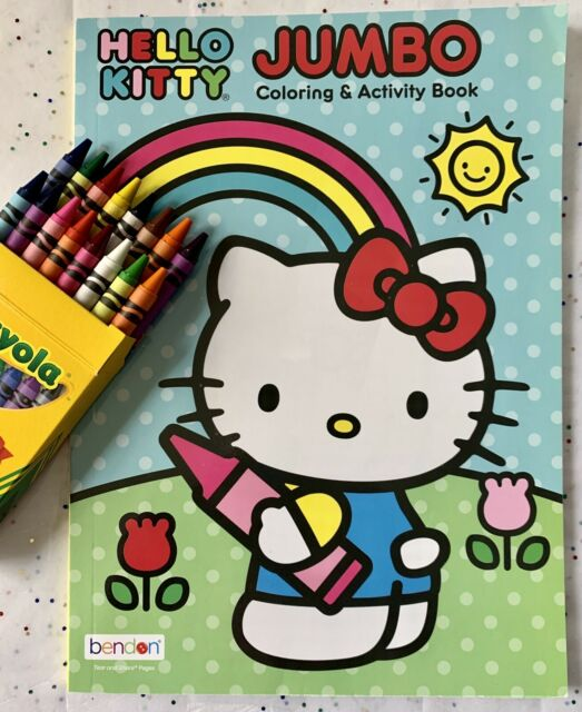 Sanrio HELLO KITTY Coloring & Activity Book With 16 Count Crayola Crayons-NEW