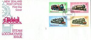 Nouvelle-zélande 1973 Locomotives à Vapeur Combattue First Day Cover Bureau Ide