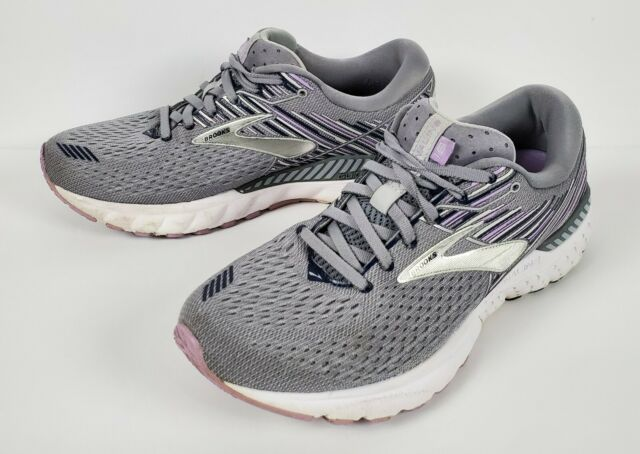 Brooks Womens Adrenaline Gts 19 Gray Running Shoes Size 9 D