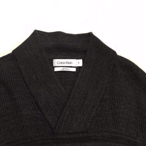 Klein Grey Chunky M Size Calvin Sweater Jumper Body Mens Collar Shawl Fit Knit SwndqOT