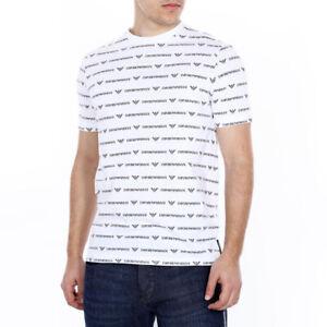 EMPORIO-ARMANI-T-Shirt-Casual-Slim-Uomo-Mezza-Manica-Bianca-Di-Cotone-Stampata