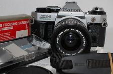 N.Mint Canon AE-1 Program 35mm SLR w/NFD 35-70mm,Focusing screen & Strap Japan