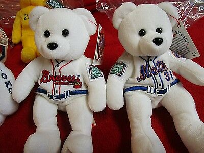 MLB Braves and MLV Mets Beanie Bears Major League Baseball Authentic