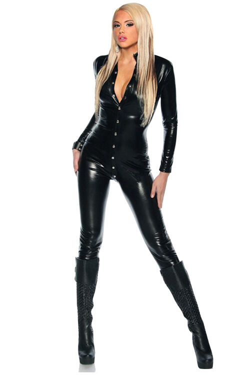 Shiny Stylish Clubbing Dance Stretch PVC Look Latex Catsuit Valentines X Costume