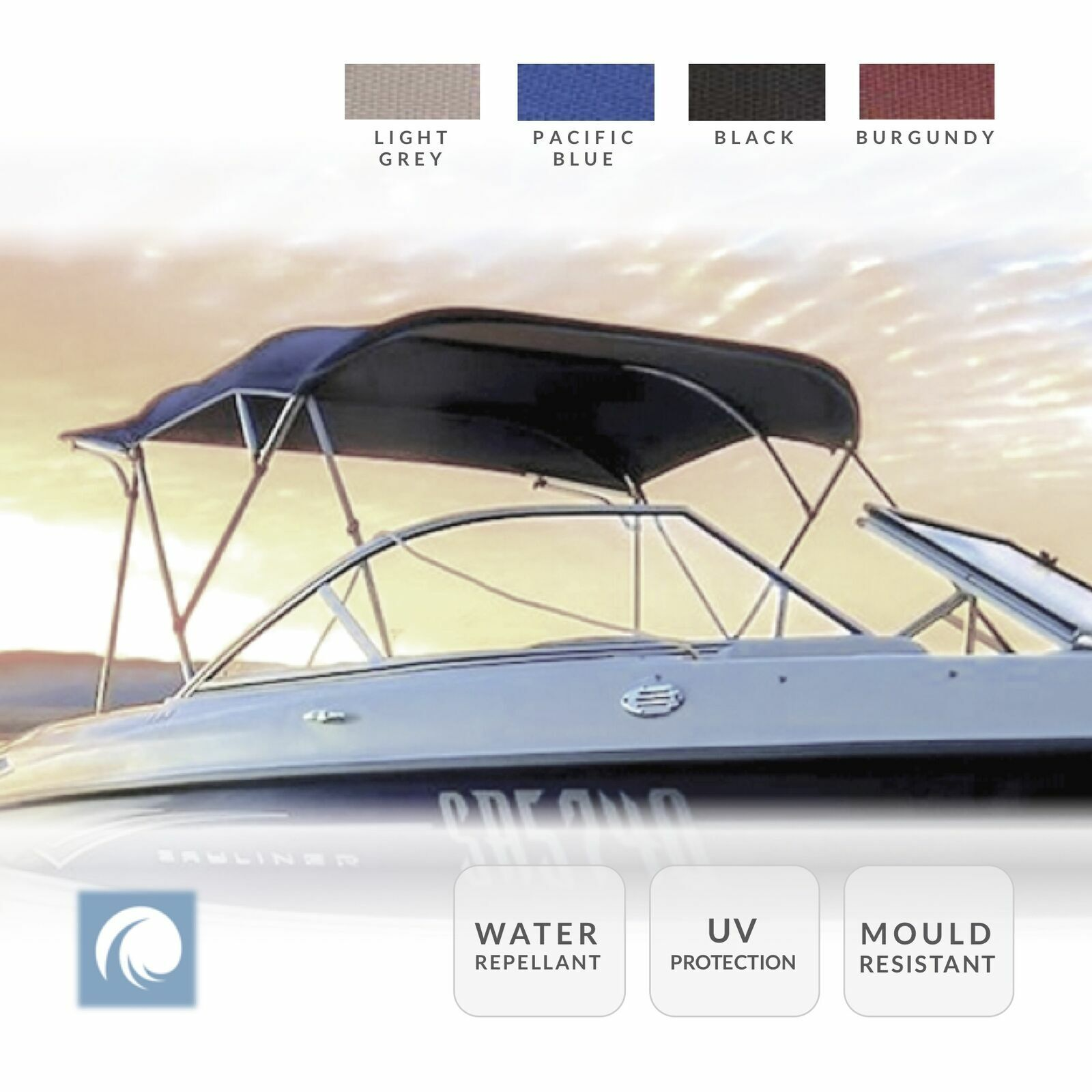 Premium Boat Bimini Top Canopy, 3 Bow, 120cm - 210cm Breite.Wählen Sie Farbe && Größe.