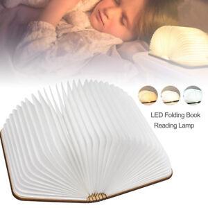 Lampade-da-tavolo-in-legno-a-forma-di-libro-luce-notturna-ricaricabile-LED-Nuovo