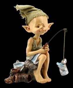 Pixie Kobold Figur - Angler Petri Heil - Fantasy Gnom Elfe Fee Deko
