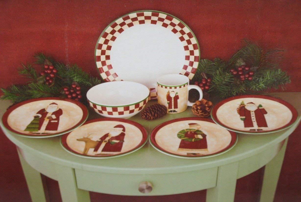 Debbie Mumm Dinnerware Folk Art Santa's Holiday 16 PIECES PORCELAINE NEW IN BOX