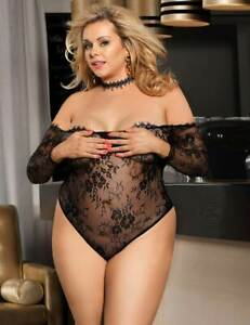 Black Lace Off the Shoulder Long sleeved Body Plus Size 16-18 20-22