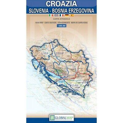 Cartina Geografica Slovenia Croazia Bosnia.Croazia Slovenia Bosnia Carta Stradale Scala 1 800 000 Mappa Global Map Ebay