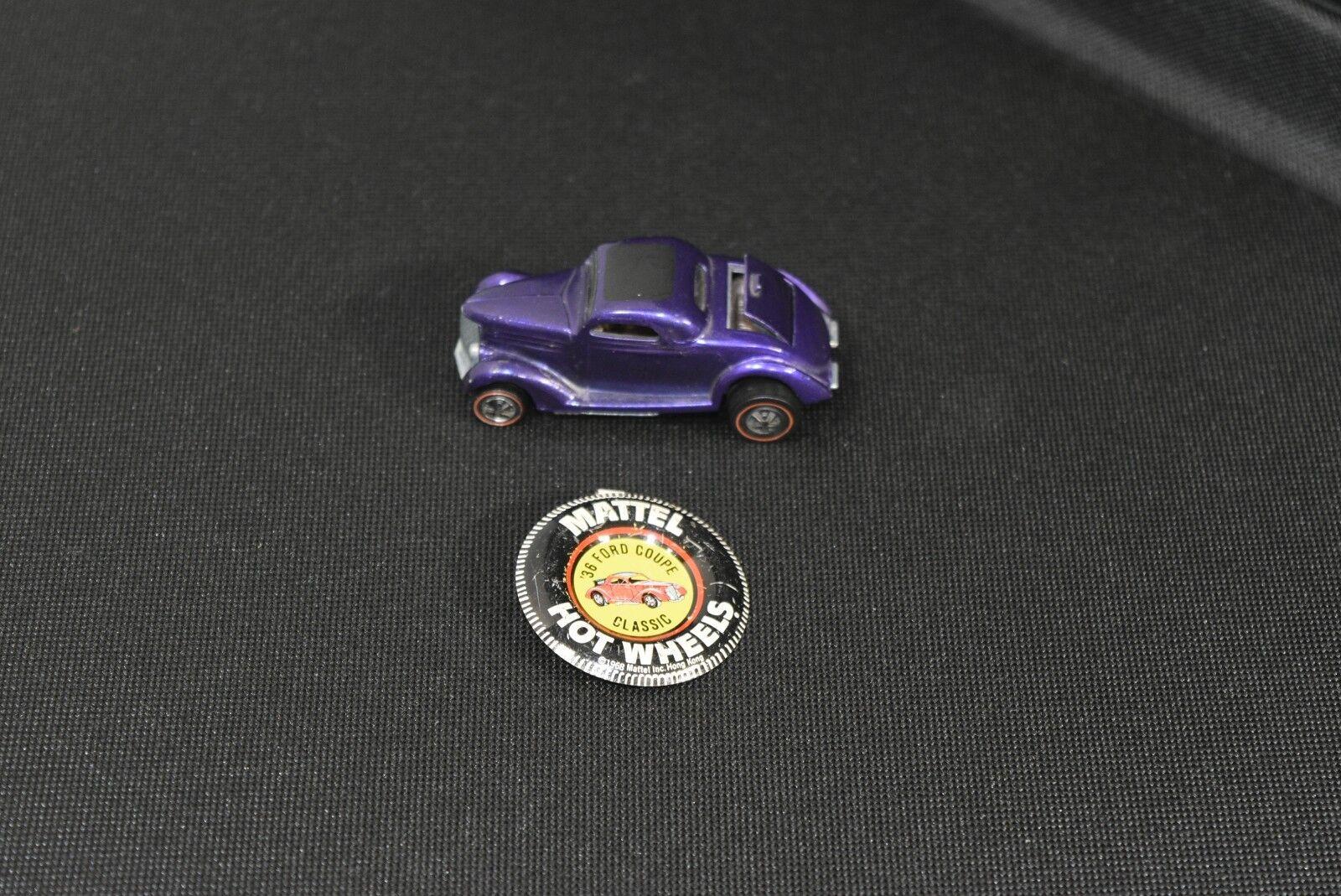 Original 1968 Hot Wheels Redline Classic '36 Ford Coupe in Purple + Button