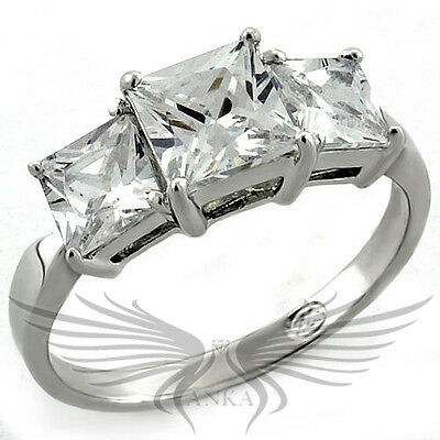 Brilliant Princess Cubic Zircon CZ AAA 925 Silver Engagement Ring 5 10 LOAS970