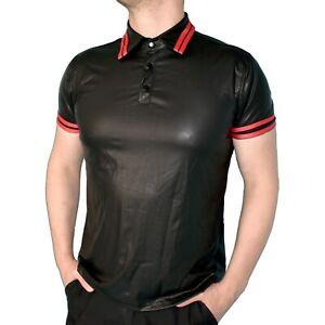 weiches-Leder-Look-Polo-HEMD-fuer-Herren-mit-Streifen-L-Vinyl-Shirt-Oberteil