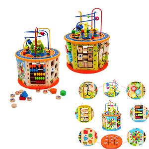 Wooden Activity Cube 8 en 1 Baby BEAD MAZE Jouets Cadeau Éducatif Early learning