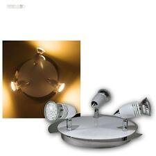 """Plafonnier LED """"CW"""" 3 feuilles, Chrome/Blanc, blanc chaud Lampe de salon"""