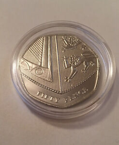 2019-Royal-Mint-Royal-Shield-of-Arms-BU-50p-Fifty-Pence-Coin-In-Coin-Capsule