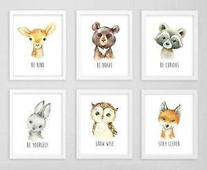 Bosque animales Vivero impresiones Oso Ciervo Fox Búho Conejo comillas Woodland 6 620-A