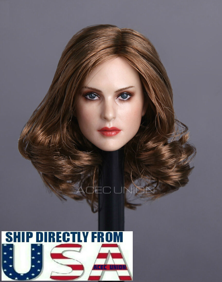 1 6 Female Head Sculpt Brown Curly Hair For 12  PHICEN Hot Toys Figure U.S.A.
