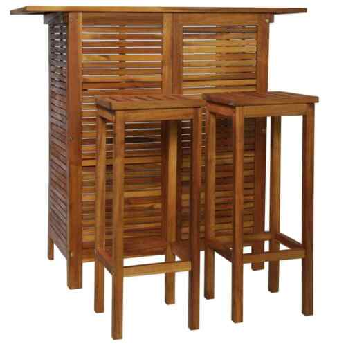 3 Pieces Breakfast Bar Table/&Chair Stool Set Kitchen Furniture Solid Acacia Wood