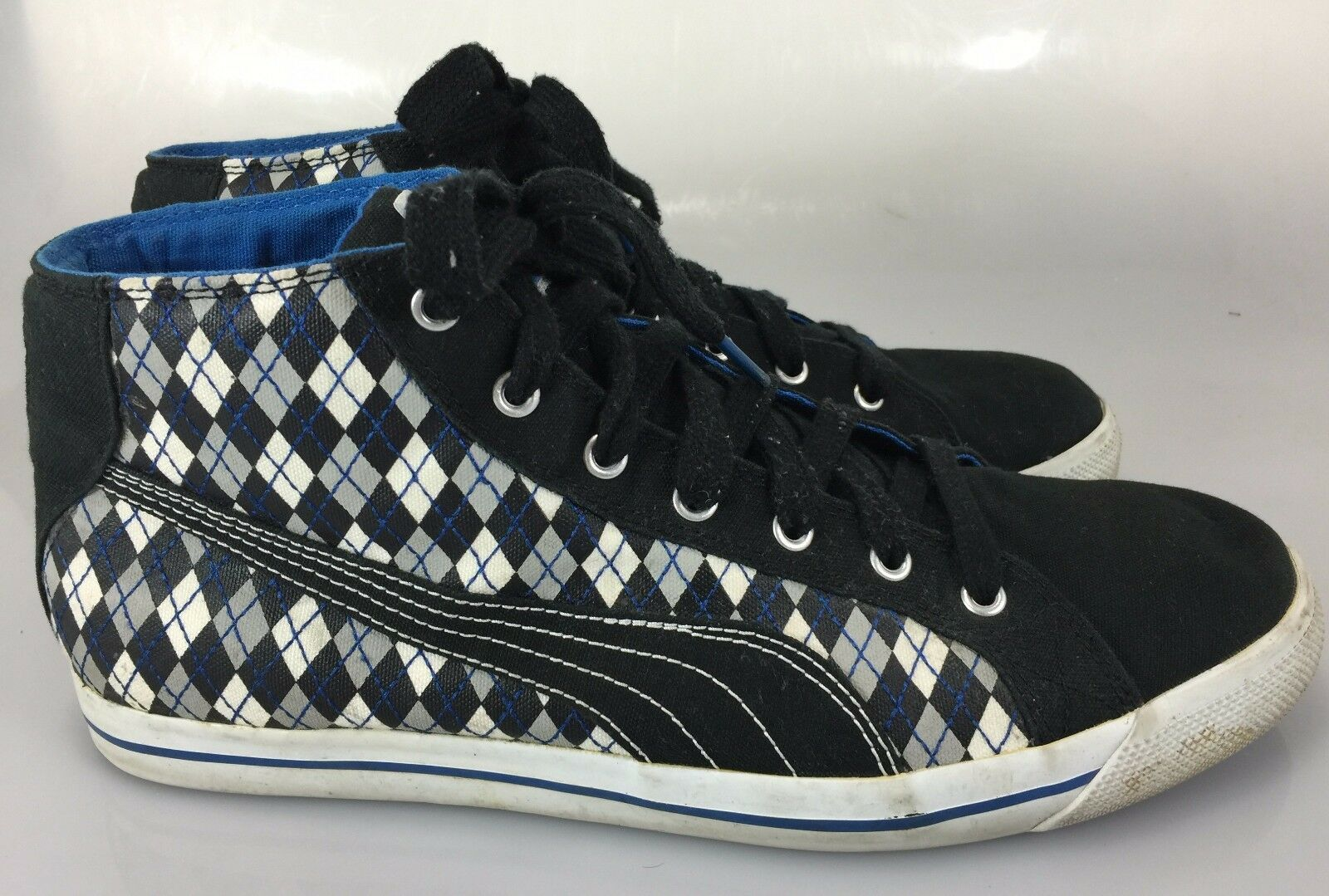 Puma Mens 13 US 12 EU Black White Blue Argyle Sneakers Gym Shoes The most popular shoes for men and women
