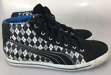 Puma Mens 13 US 12 UK 47 EU Black White Blue Argyle Sneakers Gym Shoes