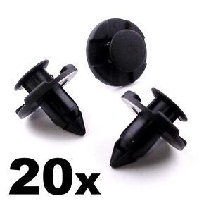 20x Push Fit Black Plastic Rivet Clips 8mm Wheel Arch Lining Bumper Engine Guard